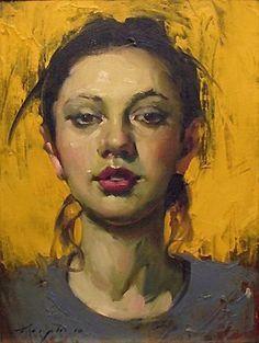 Artist: Malcolm T. Liepke (b. 1953), oil on canvas {figurative #impressionist art beautiful female head woman face portrait painting #loveart}