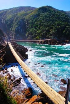 Storms River Suspension Bridge in Tsitsikamma National Park, South Africa Places Around The World, Oh The Places You'll Go, Places To Travel, Places To Visit, Around The Worlds, Dream Vacations, Vacation Spots, Vacation Rentals, Vacation Travel
