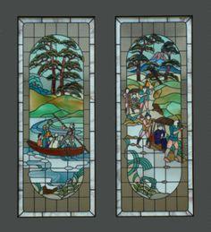 Meiji Era Stained glass: 「明治初期の渡し舟風景」 河原 清