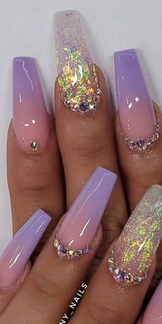 """10 Impressive Spring Nails Coffin Ombre - """"Are you searching for coffin ombre nail design? Then check at our provided collection of coffin ombre nails. Glam Nails, Bling Nails, Bling Nail Art, Fancy Nails, Glitter Nails, My Nails, Coffin Nails Ombre, Nagel Bling, Lavender Nails"""