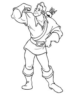 1000 images about beauty and the beast coloring pages on for Gaston coloring pages
