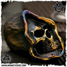 Ace Metal Works Bead: Ace Grim Skull - Cobalt