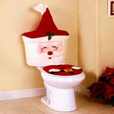 60pcs 4pcs Set Christmas Xmas Santa Toilet Seat Cover Rug Bathroom Mat Decorations In Decoration Supplies From Home Gar