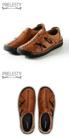 >> купить здесь << Prelesty Старинные Высокое Качество Натуральная Кожа Мужчины Обувь Ручной Работы Мода Повседневная Обувь Мужчины Мягкие Дышащие Квартиры Мокасины Ретро