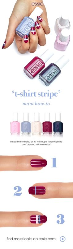 thought the 90s were over? as if! the new essie fall 2017 collection embodies the rebel spirit of the 1990s with nail colors that range from light baby pink to saturated dark purple. these nail polishes are perfectly on trend for the fall fashion season and will complement every outfit! rock this varsity stripe t-shirt nail art look with your vintage denim, chokers, and 90s fashion!