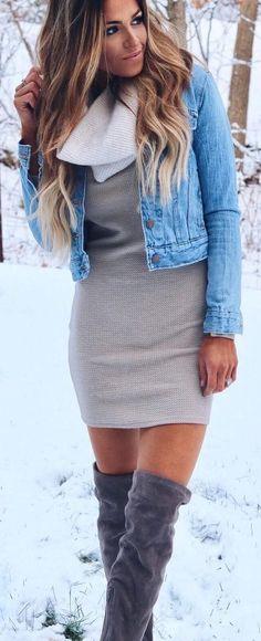 Denim Jacket / Grey Dress / Dark Velvet OTK Boots / Cream Scarf