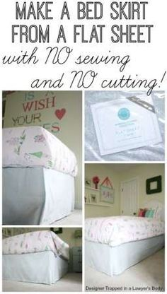 This is AMAZING!  DIY bed skirt from a flat sheet with NO SEWING and NO CUTTING.  Full tutorial by Designer Trapped in a Lawyer's Body.