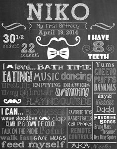 Custom First Birthday Colored Chalkboard Poster/ Invitation - Birthday Sign - Boy -Little Man-Mustache-Bow ties-Vintage-Top Hats-Newspaper on Etsy, $25.00
