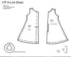 LMA - A Line Dress Pattern (*Randomfish) Tags: pattern sewing littlefee Doll Sewing Patterns, Doll Clothes Patterns, Clothing Patterns, Pattern Sewing, Barbie Patterns, Sewing Ideas, New Dress Pattern, Dress Patterns, Barbie Clothes