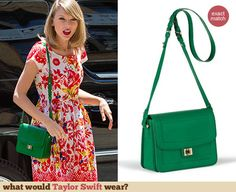 Red and white floral printed dress with green bag and shoes Green Purse Outfit, Green Bag, Green Dress, Green Shoulder Bags, Taylor Swift Style, Green Fashion, Colourful Outfits, Cloth Bags, Capsule Wardrobe