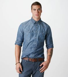 @American Eagle Outfitters Chambray Western Shirt is the perfect match to any colored bottom.