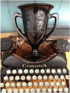 Two Sylvias Press Poetry Chapbook Prize!  Poetry book publication, author copies, money & this 1930's depression glass trophy! www.twosylviaspress.com #binders