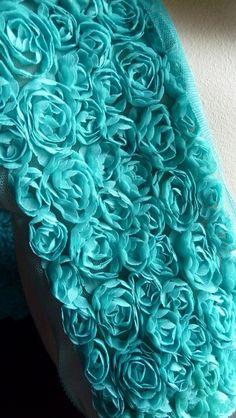 Ruffled Chiffon Rose Lace Applique Trim in Aqua for Altered Couture, Bridal, Costume Design Azul Tiffany, Tiffany Blue, Shades Of Turquoise, Bleu Turquoise, Aqua Blue, Shades Of Blue, Turquoise Fabric, Turquoise Flowers, Aqua Color