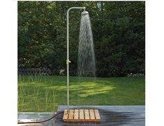 Check out the Larch-wood Shower Platform in Faucets & Fixtures, Outdoor Showers & Tubs from Manufactum for Outdoor Pool Shower, Outdoor Shower Enclosure, Solar Shower, Outdoor Garden Furniture, Outdoor Decor, Rustic Outdoor, Outside Showers, Garden Shower, Outdoor Bathrooms