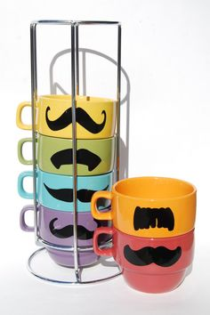 Pastel Multi Color Mustache Coffee Mugs Spring set - set of 6 stackable mugs and chrome holder