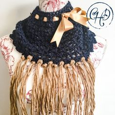 Cowl with decorative ribbon and tassels Winter 2017, Fall Winter, Autumn, Alpaca Wool, Winter Collection, Hand Crochet, Cowl, Tassels, Crochet Necklace