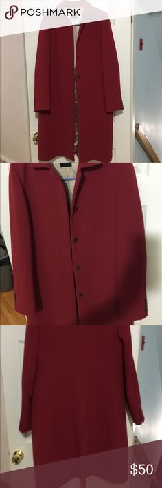 "J. Crew Dress Coat-Wool blend-Deep Red-Dressy Coat This is a beautiful coat. It has lots of love and was worn when going out dressed up. Does have have water stains inside coat from dry cleaning. Two small stains on cuff barely noticeable when worn.  Hits below the knee if you're 5""7.  Loved wearing it, but does not fit any longer .The pop of color always turns heads when walking down the street. The price reflects the condition, still a great deal for a high quality coat. J. Crew Jackets…"