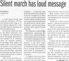 "Post (Athens, Ohio) January 18 2011. Page 1: ""Silent march has loud message."" MLK Day coverage."