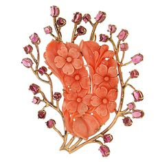 Tourmaline Coral  Gold Flowers Brooch | From a unique collection of vintage brooches at https://www.1stdibs.com/jewelry/brooches/brooches/