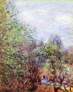 Two Women Walking Along the Riverbank - Alfred Sisley 1880-05  Impressionism