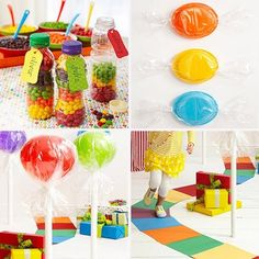 We can talk about having fruit instead of cake all we want, but what most kids really want when they come to a birthday party is sugar, so why not make it the theme?  Here are 4 super simple ways to go all out without completely draining your pocketbook!