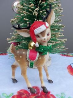 VINTAGE RARE FIND REINDEER WITH SANTA HAT & SADLE & BOW CHRISTMAS ORNAMENT/DECOR | eBay