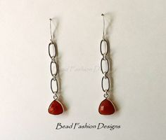 Sterling Silver and Red Onyx Drop Earrings by BeadFashionDesigns