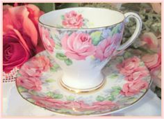 Vintage Staffordshire Rose of Sharon Teacup and Saucer     Vintage English Stoke on Trent Potteries