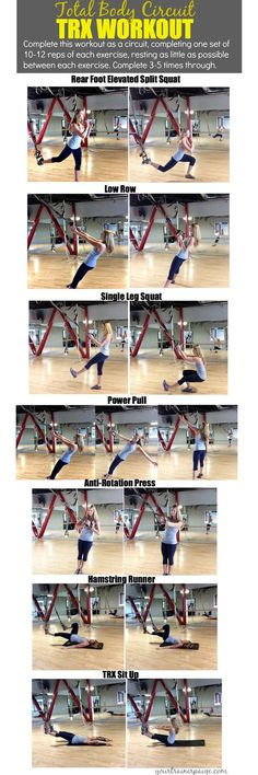 "Fitness Inspiration : Illustration Description Total Body Circuit TRX Workout Make Your Body Your Machine – Your Trainer Paige ""Nothing will work unless you do"" ! -Read More – Fitness Workouts, Fun Workouts, At Home Workouts, Fitness Motivation, Trx Workouts For Women, Body Workouts, Trx Training, Strength Training, Suspension Workout"