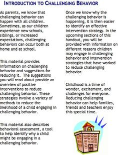 Great resource for parents about challenging behaviors
