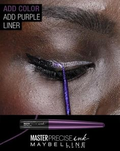 Up your eyeliner look with an ombre line using Maybelline's NEW Master Precise Ink metallic liquid liner. First, sweep black liner from middle of lash line outwards to create a mini wing. Then, hack your ombre line by sweeping silver liner across lash line to create a guide. Next, using a feathering motion, apply purple liner across lid for gradient effect. Complete the look by filling in the rest of the guideline with silver liner.