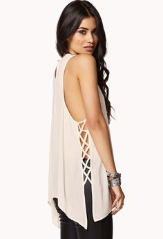 Sleek Lattice Cutout Trapeze Tank | FOREVER21 Cut it out! #Love21 #Cutouts #MustHave