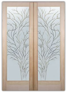 Wispy Tree Frosted Pinstripe - Double Entry Doors Hand-crafted, sandblast frosted and 3D carved.  Available as interior or entry door in 8 woods and 2 fiberglass. Slab door or prehung any size, or as glass insert only.  Our fun, easy to use online Glass and Door Designer gives you instant pricing as YOU customize your door and glass!  When you're all finished designing, you can place your order right there online!  Doors ship worldwide from Palm Desert, CA