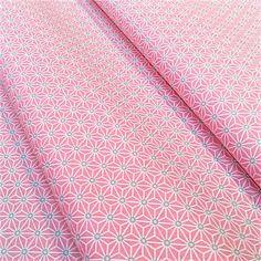Tissu saki 25x160cm étoile asanoha rose clair et gris