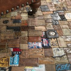Rug made from recycled jeans labels... Made in Sweden