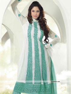 Enhance your charm wearing this beautiful off white salwar kameez. Vertical alternate panel feature kameez embellished with heavy embroidery. Fancy thick lace is complementing the suit. Perfect selection for any special occasion. http://goodbells.com/salwar-suits/heavy-embroidered-off-white-salwar-kameez-en.html