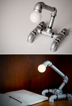DIY: industrial chic lamp from pipe fittings. Potentially dangerous though - electricity is conducted by metal parts.