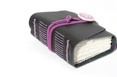 Leather Journal  Wee Chunky Book  Black and Lavender by WeeBindery, $30.00