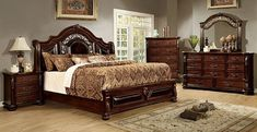 Furniture of america 5 pc flandreau collection brown cherry finish wood queen bedroom set King Size Bedroom Sets, Wood Bedroom Sets, Wood Bedroom Furniture, Furniture Design, Kitchen Furniture, Queen Bedroom, Cheap Furniture, Master Bedroom, Furniture Websites