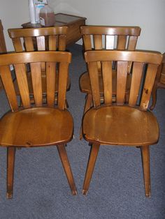 Habitant By Bay City, MI Knotty Pine 4 Armless Dining Chairs