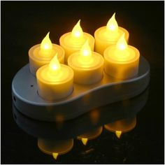 Set of 6 Restaurant Quality Rechargeable Flickering Amber Flameless LED Tealights With Metal Contacts