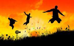 Jump over field with butterflies Free HD Wallpaper