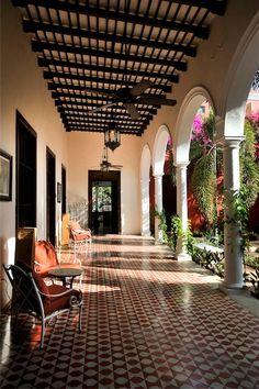 Villa Merida, Merida, Mexico. Beautiful small hotel in old Merida, high ceillings and huge bed.