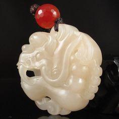 Chinese Natural Hetian Jade Dragon Head Pendant