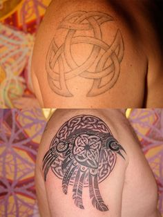 Cover-up Tattoo. Top: original; bottom: finished cover-up.  Tattoo by Daemon Rowanchilde.  www.urbanprimitive.com