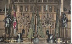 A group of old Scottish arms & Colours in banqueting hall, Edinburgh Castle - post card