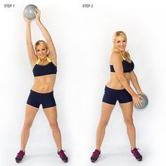 9 Moves To Lose Your Love Handles. #6 Medicine Ball Wood Chops: Standing tall, with feet shoulder width apart, hold a medicine ball (or dumbbell) with both hands. Engage your core and reach ball straight over to one shoulder. Bring the ball downward in a quick chopping motion toward the opposite hip, while rotating through your obliques. Repeat 15x per side.