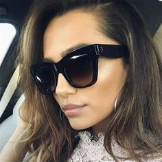 dfe7a6dcd9f0 Classic Cat Eye Sunglasses Women Vintage Oversized Gradient Sun Glasses  Shades Female Luxury Designer