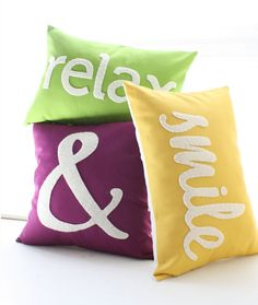 $105 3 pillow set Smile in Canary/white. Relax in mad pink/white Ampersand in dark violet/white