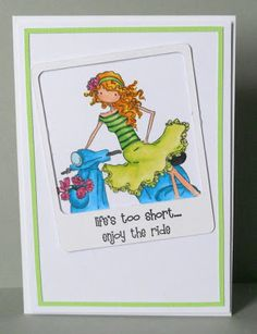 Craftilicious: Framed Vienna  the Uptown Girls from Stamping Bella and this one is Vienna on her Vespa but I masked off some of the Vespa so I could fit her into a Polaroid style frame (cut on my cameo).  She is coloured with copics and then I added the sentiment onto the bottom part of the Polaroid frame.  I added a second thin green frame which was again cut on my cameo to add a little more interest to the edge of the card.
